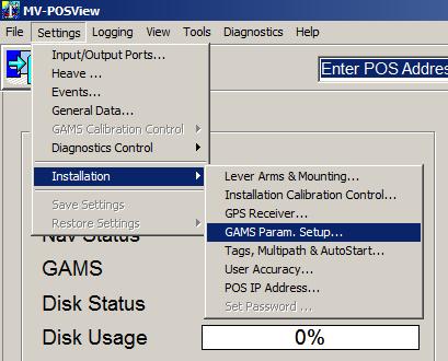 Settings, Installation, GAMS Param. Setup
