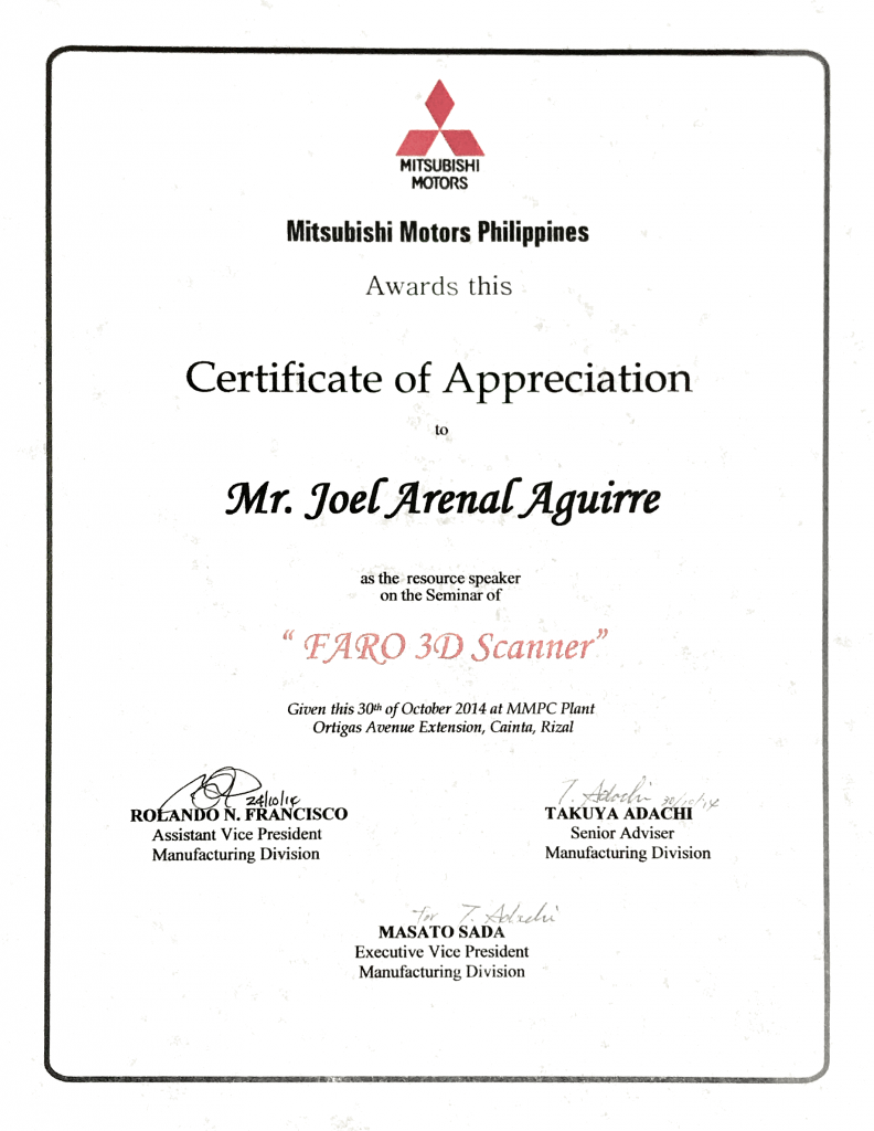 Certificate of Appreciation from Mitsubishi Motors