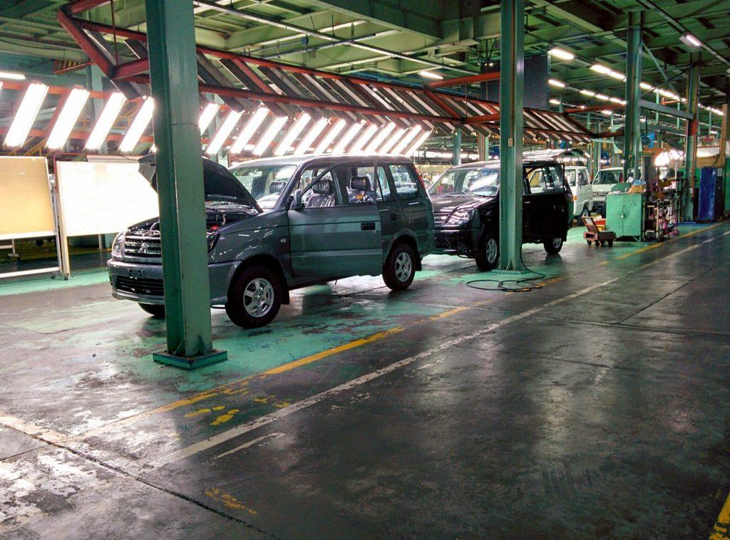 Newly assembled Mitsubishi cars